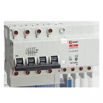 Дифференциальный автомат АД-4 6А/100мА (характеристика C, тип AC) 4,5кА EKF