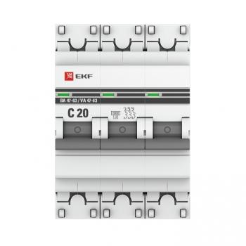 Автоматический выключатель 3P 20А (C) 6кА ВА 47-63 EKF PROxima