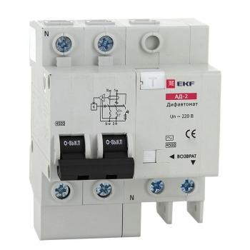 Дифференциальный автомат АД-2 25А/100мА (характеристика C, тип AC) 4,5кА EKF
