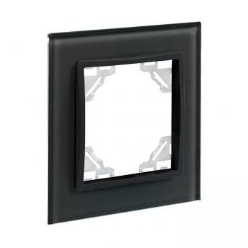 Минск Рамка 1-местная стеклянная черная EKF Basic