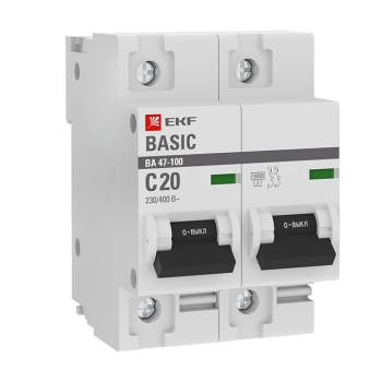 Автоматический выключатель 2P  20А (C) 10kA ВА 47-100 EKF Basic