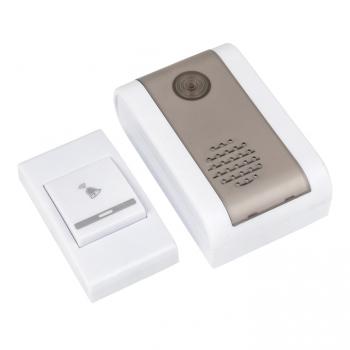 Звонок беспр. на батарейках 003 (бел.-сер. 36 мелод. с индик. 2х1,5В АA дист. 80м.) EKF Basic
