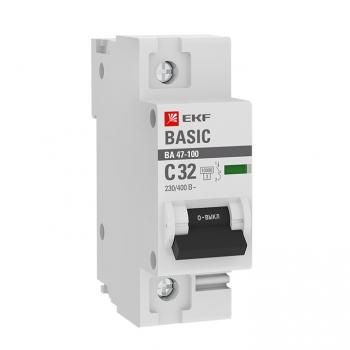 Автоматический выключатель 1P  32А (C) 10kA ВА 47-100 EKF Basic