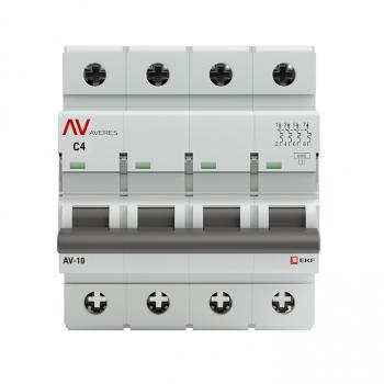 Выключатель автоматический AV-10 4P  4A (C) 10kA EKF AVERES
