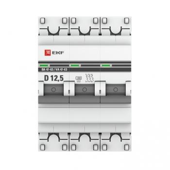 Автоматический выключатель 3P 12,5А (D) 4,5kA ВА 47-63 EKF PROxima