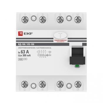 Устройство защитного отключения УЗО ВД-100 4P 63А/300мА (электромеханическое) EKF PROxima
