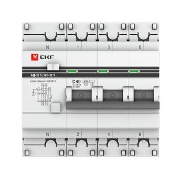 Дифференциальный автомат АД-32 (селективный) 3P+N 40А/300мА EKF PROxima