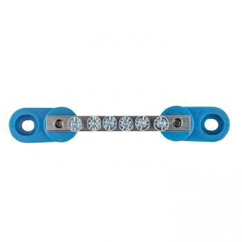 """Шина """"0"""" N (6x9мм) 6 отв. цинк 2 синих угловых изолятора EKF"""