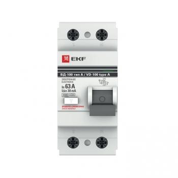Устройство Защитного Отключения ВД-100 2P 63А/ 30мА (электр, тип А) EKF PROxima