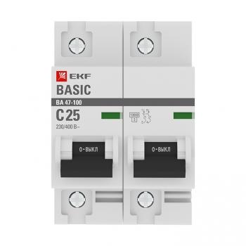 Автоматический выключатель 2P  25А (C) 10kA ВА 47-100 EKF Basic
