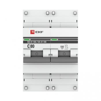 Автоматический выключатель 2P  80А (C) 10kA ВА 47-100 EKF PROxima