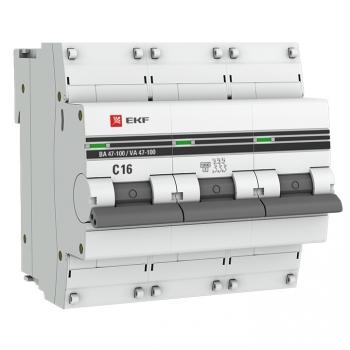 Автоматический выключатель 3P  16А (C) 10kA ВА 47-100 EKF PROxima