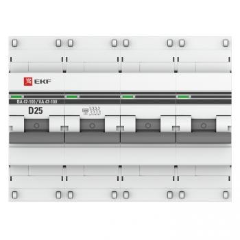 Автоматический выключатель 4P  25А (D) 10kA ВА 47-100 EKF PROxima