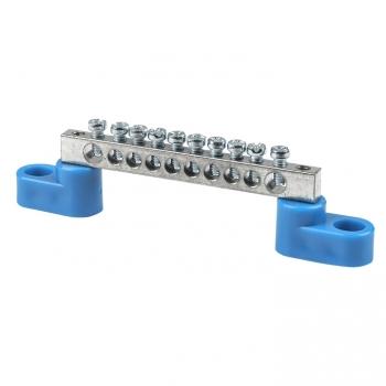 """Шина """"0"""" N (6x9мм) 10 отв. цинк 2 синих угловых изолятора EKF"""
