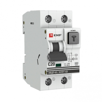Дифференциальный автомат АВДТ-63  20А/ 30мА (характеристика C, эл-мех тип AС) 6кА EKF PROxima