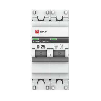 Автоматический выключатель 2P 25А (D) 4,5kA ВА 47-63 EKF PROxima