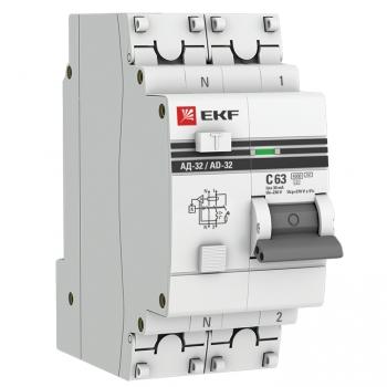 Дифференциальный автомат АД-32 1P+N 63А/30мА (хар. C, AC, электронный, защита 270В) 4,5кА EKF PROxima