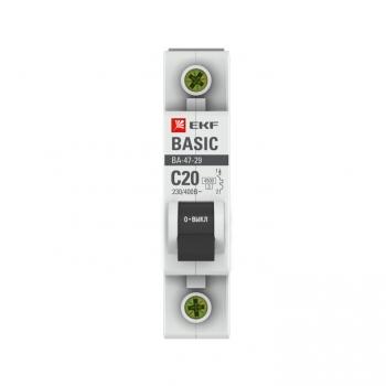 Автоматический выключатель 1P 20А (C) 4,5кА ВА 47-29 EKF Basic