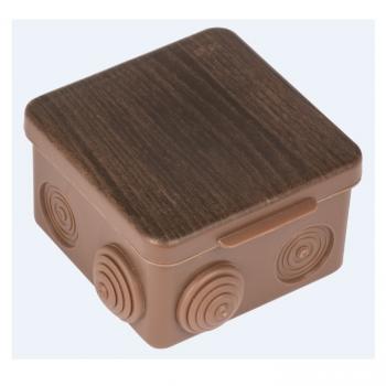 Коробка распаячная  КМР-030-031 с крышкой (83х83х54) 7 мембранных вводов тёмное дерево IP54 EKF PROxima