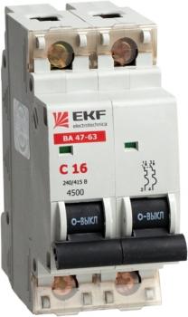 Автоматический выключатель ВА 47-63, 2P 63А (C) 4,5kA EKF