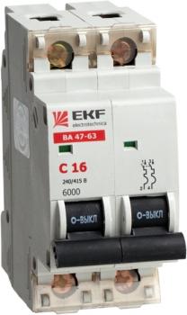 Автоматический выключатель ВА 47-63 6кА, 2P 6А (C) EKF