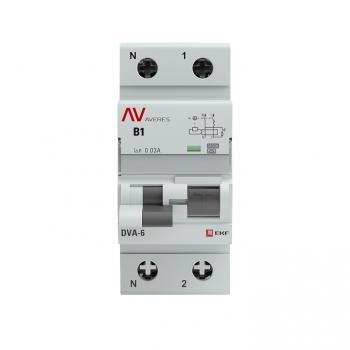 Дифференциальный автомат DVA-6 1P+N  1А (B)  30мА (A) 6кА EKF AVERES