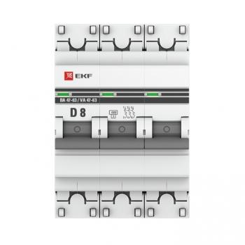 Автоматический выключатель 3P  8А (D) 4,5kA ВА 47-63 EKF PROxima