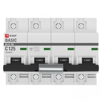 Автоматический выключатель 4P 125А (C) 10kA ВА 47-100 EKF Basic