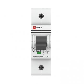 Автоматический выключатель 1P 100А (C) 15кА ВА 47-125 EKF PROxima