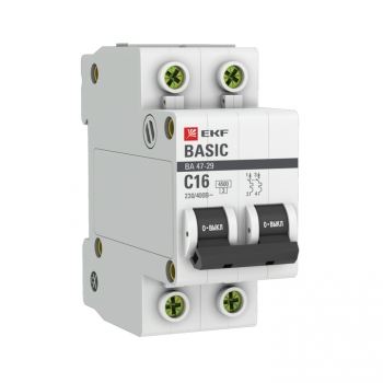 Автоматический выключатель 2P 16А (C) 4,5кА ВА 47-29 EKF Basic