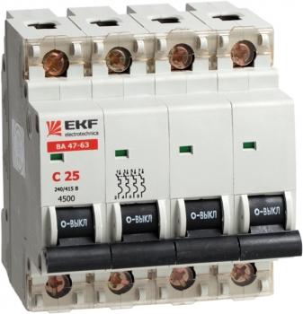 Автоматический выключатель ВА 47-63, 4P 20А (C) 4,5kA EKF