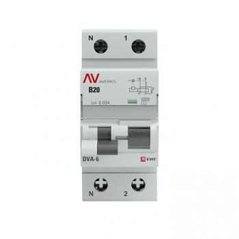 Дифференциальный автомат DVA-6 1P+N 20А (B)  30мА (AC) 6кА EKF AVERES