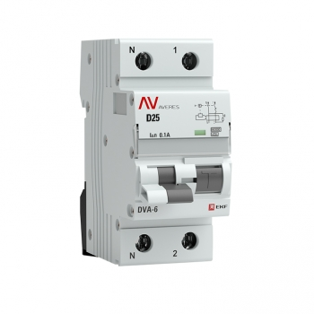 Дифференциальный автомат DVA-6 1P+N 25А (D) 100мА (A) 6кА EKF AVERES