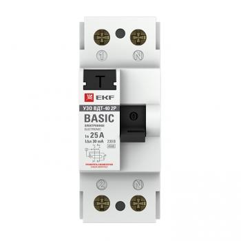 Устройство защитного отключения УЗО ВДТ-40 2P 25А/ 30мА (электронное) EKF Basic