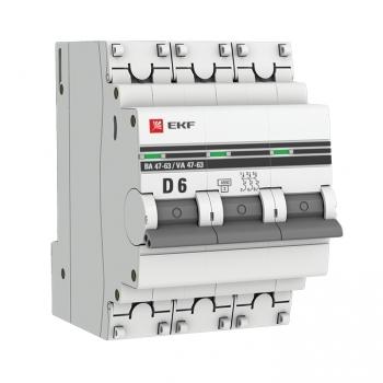 Автоматический выключатель 3P  6А (D) 4,5kA ВА 47-63 EKF PROxima