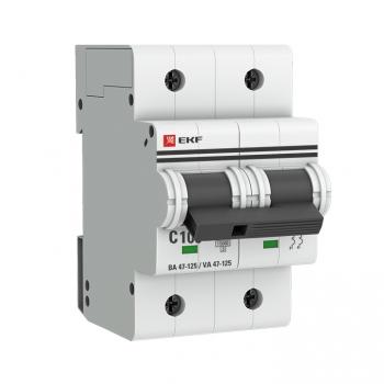 Автоматический выключатель 2P 100А (C) 15кА ВА 47-125 EKF PROxima