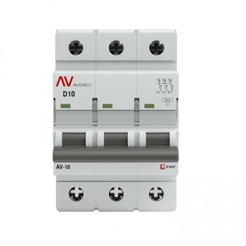 Выключатель автоматический AV-6 3P 10A (D) 6kA EKF AVERES