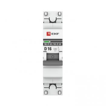 Автоматический выключатель 1P 16А (D) 4,5kA ВА 47-63 EKF PROxima