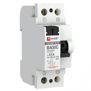 Устройство защитного отключения УЗО ВДТ-40 2P 63А/100мА (электронное) EKF Basic