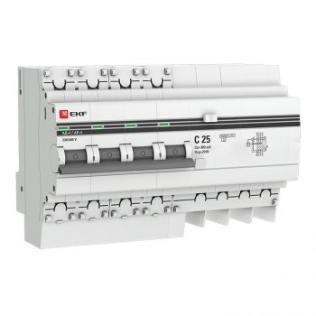 Дифференциальный автомат АД-4 25А/300мА (хар. C, AC, электронный, защита 270В) 4,5кА EKF PROxima