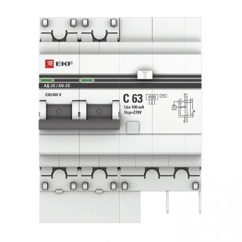 Дифференциальный автомат АД-2 S 63А/100мА (хар. C, AC, электронный, защита 270В) 4,5кА EKF PROxima
