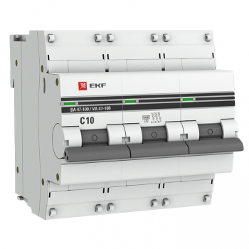 Автоматический выключатель 3P  10А (C) 10kA ВА 47-100 EKF PROxima
