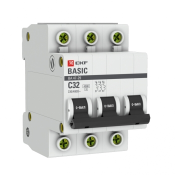 Автоматический выключатель 3P 32А (C) 4,5кА ВА 47-29 EKF Basic