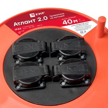 "Удлинитель на катушке ""Атлант 2.0"" 4 гнезда 40м с заземлением  КГ 3*1,5  16А/3,5кВт IP44 PROxima EKF"