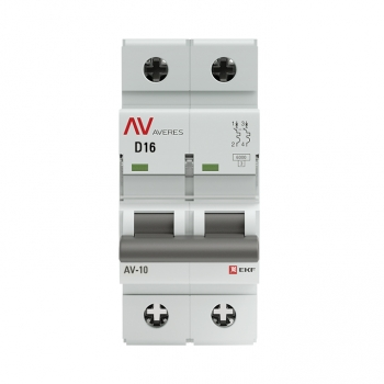 Выключатель автоматический AV-10 2P 16A (D) 10kA EKF AVERES