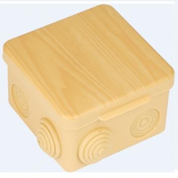 Коробка распаячная КМР-030-014 с крышкой  (103х103х55), 8 мембранных вводов светлое дерево IP54 EKF PROxima