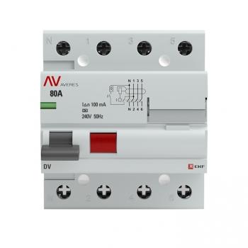 Устройство защитного отключения DV 4P  80А/100мА (A) EKF AVERES
