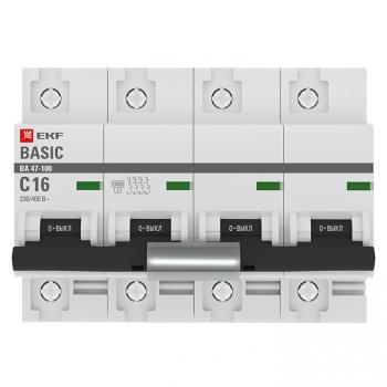 Автоматический выключатель 4P  16А (C) 10kA ВА 47-100 EKF Basic