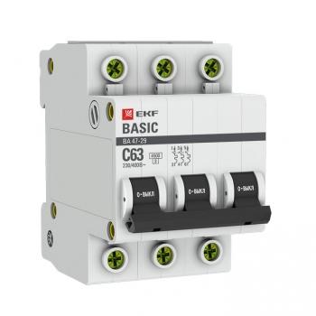 Автоматический выключатель 3P 6А (B) 4,5кА ВА 47-29 EKF Basic