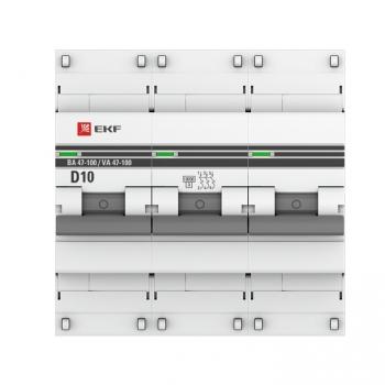 Автоматический выключатель 3P  10А (D) 10kA ВА 47-100 EKF PROxima